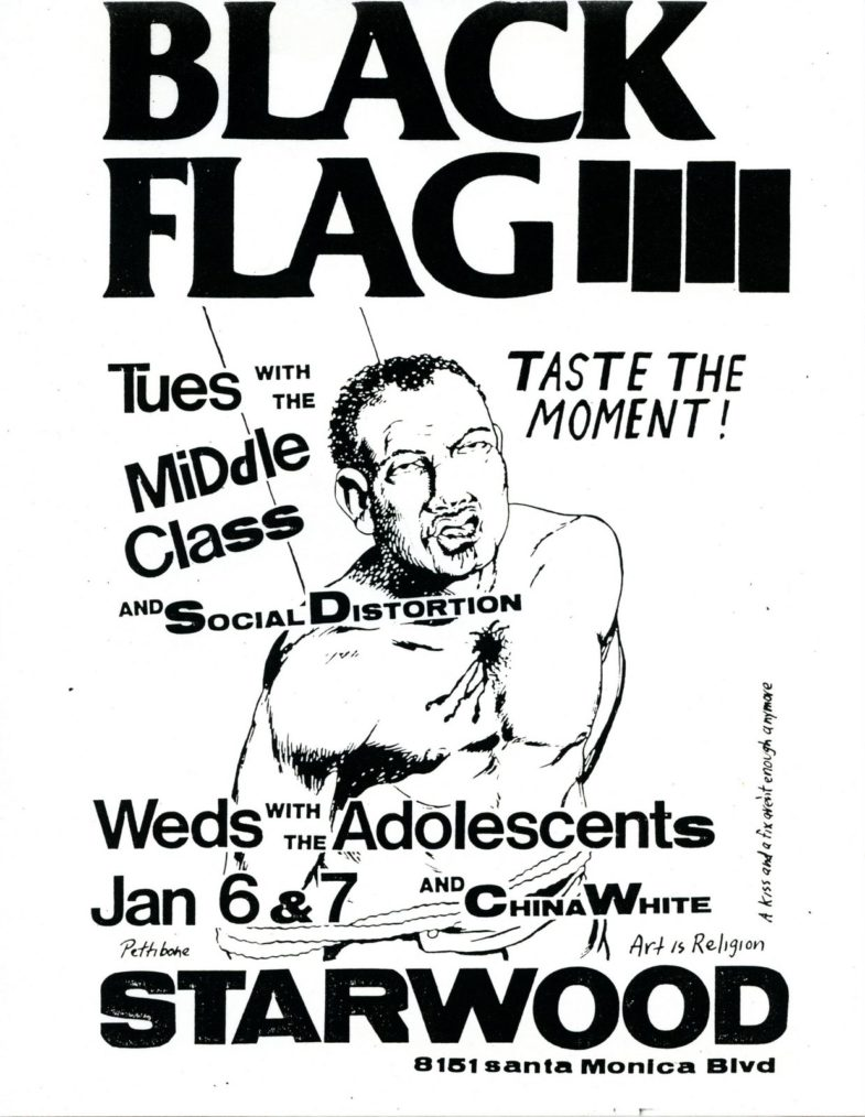 Black Flag-Social Distortion-Middle Class-China White-Adolescents @ Starwood Hollywood CA 1-6-81 + 1-7-81