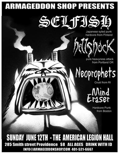 Selfish-Hellshock-Neoprophets-Mind Eraser @ American Legion Hall Providence RI 6-12-05