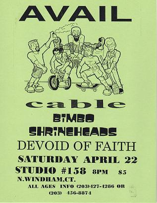 Avail-Cable-Bimbo-Shineheads-Devoid Of Faith @ Studio #158 North Windham CT 4-22-95