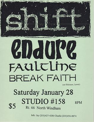 Shift-Endure-Faultline-Break Faith @ Studio #158 North Windham CT 1-28-95