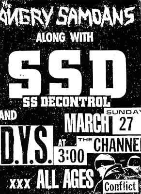 Society System DeControl-DYS-Angry Samoans-Conflict @ The Channel Boston MA 3-27-83