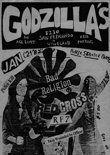 Bad Religion-Red Kross-RF7-Man Wounded By Officer @ Godzilla's Sun Valley CA 1-21-82