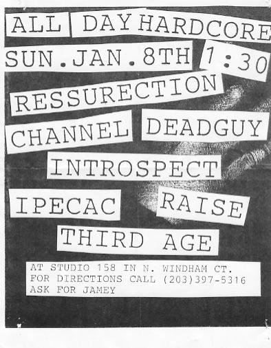 Ressurection-Deadguy-Channel-Introspect-Third Age-Raise-Ipecac @ Studio 158 North Windham CT 1-8-95
