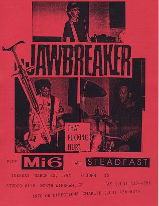 Jawbreaker-Mi6-Steadfast @ Studio #158 North Windham CT 3-22-94