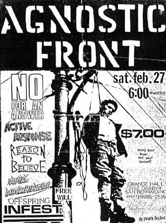 Agnostic Front-No For An Answer-Active Response-Reason To Believe-Visual Discrimination-The Offspring-Infest-Free Will @ Grange Hall San Bernadino CA 2-27-88