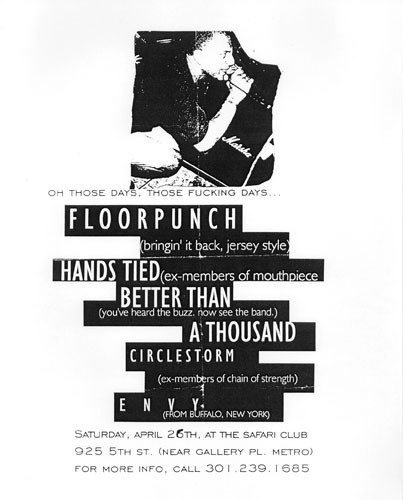 Floorpunch-Hands Tied-Better Than A Thousand-Circle Storm-Envy @ Safari Club Washington DC 4-26-97