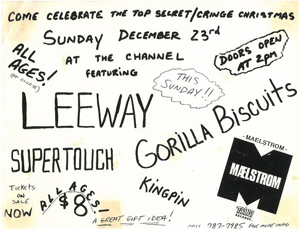Supertouch-Gorilla Biscuits-Leeway-Kingpin-Maelstrom @ The Channel Boston MA 12-23-90