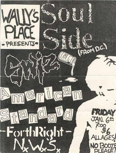 Soulside-Swiz-Forthright-American Standard-NWS @ Wally's Place Bethlehem PA 1-6-89