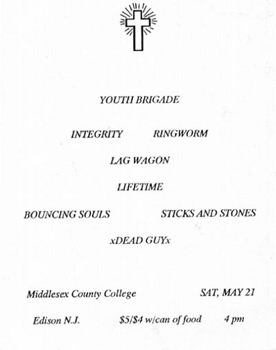 Youth Brigade (CA)-Lagwagon-Integrity-Ringworm-Lifetime-Bouncing Souls-Sticks & Stones-Deadguy @ Middlesex County College Edison NJ 5-21-94