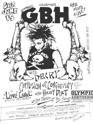 GBH-Corrosion of Conformity-Decry-Heavy Dirt-Love Canal @ Olympic Auditorium Los Angeles CA 6-15-85