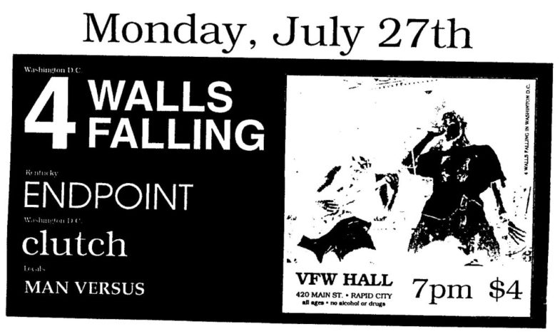 Endpoint-4 Walls Falling-Clutch-Man Versus @ VFW Hall Rapid City SD 7-27-92