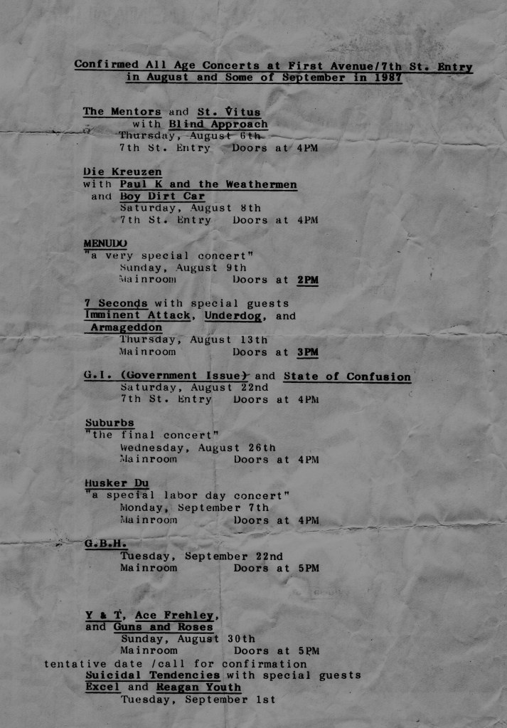 September 1987 @ 7th St. Entry Minneapolis MN