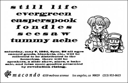 Still Life-Evergreen-Casperspook-Fondles-Seesaw-Tummy Ache @ Macondo Los Angeles CA 5-7-94