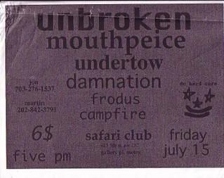 Mouthpiece-Unbroken-Undertow-Damnation-Frodus-Campfire @ Safari Club Washington DC 7-15-93