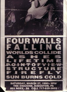 Four Walls Falling-Worlds Collide-Ashes-Lifetime-Point of View-Structure-Firefly-Sun Burns Cold @ The Endzone Kingston PA 3-27-93