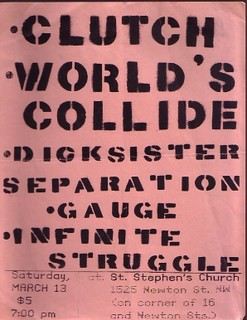 Clutch-Worlds Collide-Dick Sister-Separation-Gauge-Infinite Struggle @ St. Stephen's Church Washington DC 3-13-93