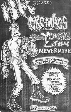 HR-Cro-Mags-Murphy's Law-Nevermore @ Hotel Diplomat Club New York City NY 12-13-84