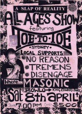 Toe to Toe-No Reason-Tremens-Disengage @ Masonic Bowlo Newcastle Australia 4-8-95