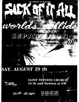 Sick of it All-Words Collide-Separation @ St. Stephens Church Washington DC 8-29-92