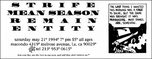 Strife-Mean Season-Remain-Entity @ Macondo Los Angeles CA 5-21-94