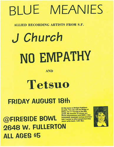 Blue Meanies-J Church-No Empathy-Tetsuo @ Fireside Bowl Chicago IL 8-18-95
