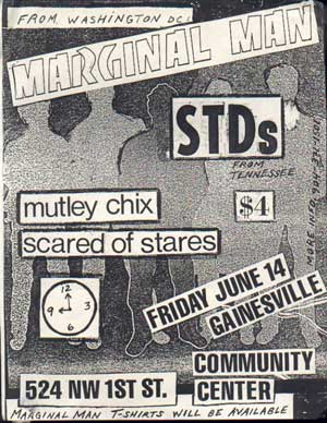 Marginal Man-STDs-Mutley Chix-Scared of Stairs @ Community Center Gainesville FL 6-14-85