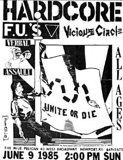 The FU's-Verbal Assault-Vicious Circle @ Blue Pelican Newport RI 6-9-85