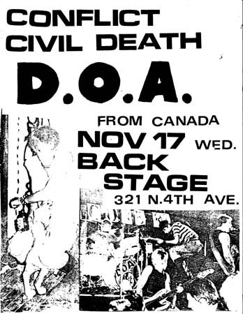 Conflict-Civil Death-DOA @ Backstage Tucson AZ 11-17-82