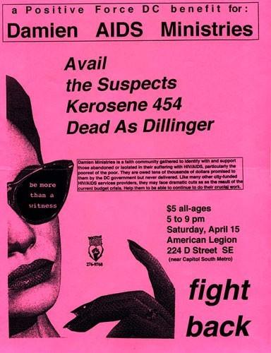 Avail-The Suspects-Kerosene 454-Dead As Dillinger @ American Legion Hall Washington DC 4-15-95