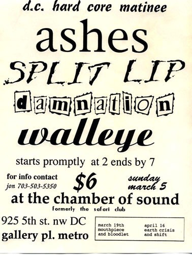 Ashes-Split Lip-Damnation-Walleye @ Chamber of Sound Washington DC 3-5-95