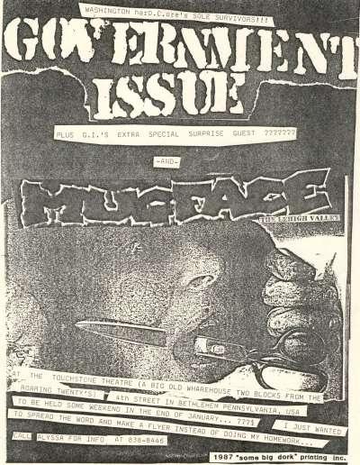 Government Issue-Mugface @ Touchstone Theatre Bethlehem PA 1987