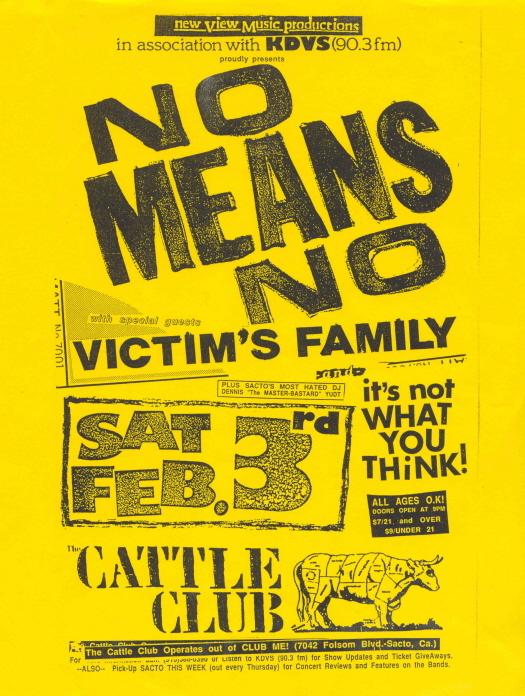 No Means No-Victim's Family @ Cattle Club Sacramento CA 2-3-90