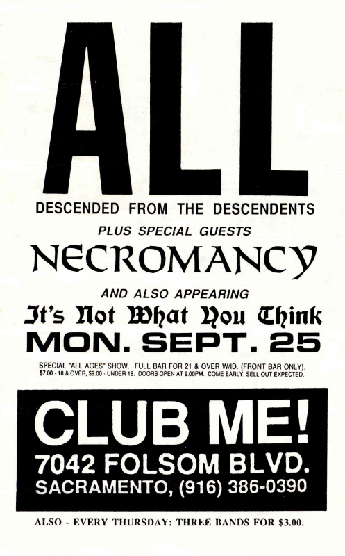 All-Necromancy-It's Not What You Think @ Club Me! Sacramento CA 9-25-90