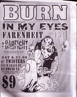 Burn-In My Eyes-Fahrenheit 451-Barfight @ Twisters Richmond VA 6-27-98