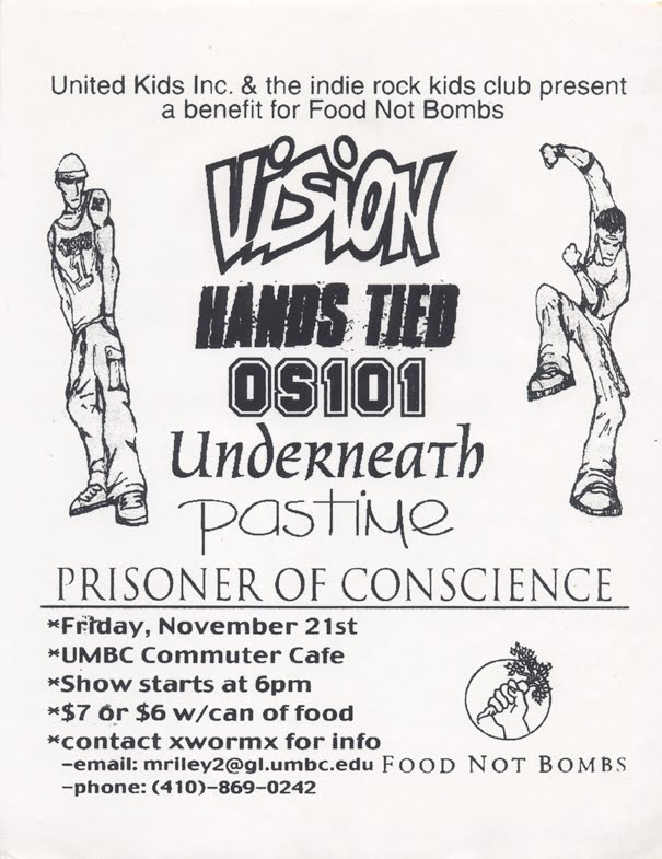 Vision-Hands Tied-OS 101-Underneath-Past Time-Prisoner of Conscience @ UMBC Commuter Cafe Baltimore MD 11-21-97
