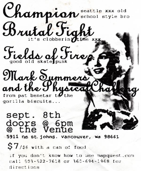 Champion-Brutal Fight-Fields of Fire @ The Venue Vancouver WA 9-8-02