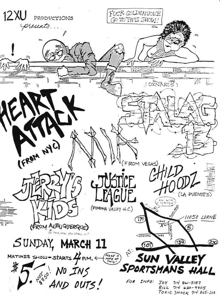 Heart Attack-Stalag 13-MIA-Jerry's Kidz-Justice League-Child Hoodz @ Sun Valley Sportsman Hall Sun Valley CA 3-11-84