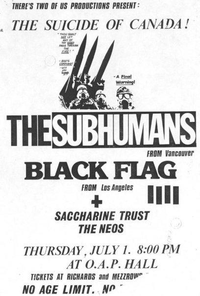 Subhumans-Black Flag-Neos-Saccharine Trust @ OAP Hall Victoria Canada 7-1-82