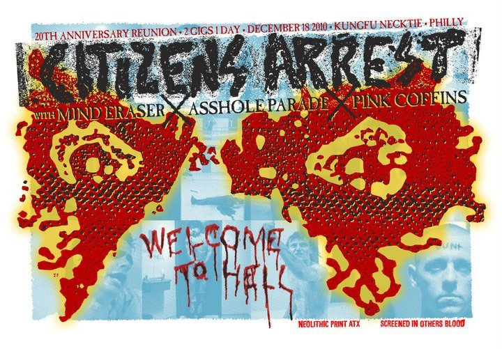 Citizens Arrest-Mind Eraser-Asshole Parade-Pink Coffins @ Kung Fu Neck Tie Philadelphia PA 12-18-10