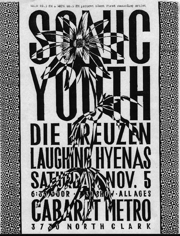 Sonic Youth-Die Kreuzen-Laughing Hyenas @ Cabaret Metro Chicago IL 11-5-88