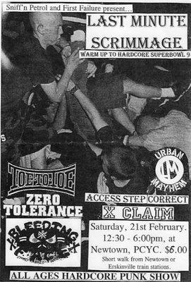 Toe to Toe-Zero Tolerance-Bleeding Face-Urban Mayhem-XClaim!-Access Step Correct @ PCYC Newtown Australia 2-21-98