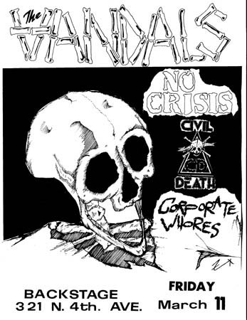 The Vandals-No Crisis-Civil Death-Corporate Whores @ Backstage Tucson AZ 3-11-83