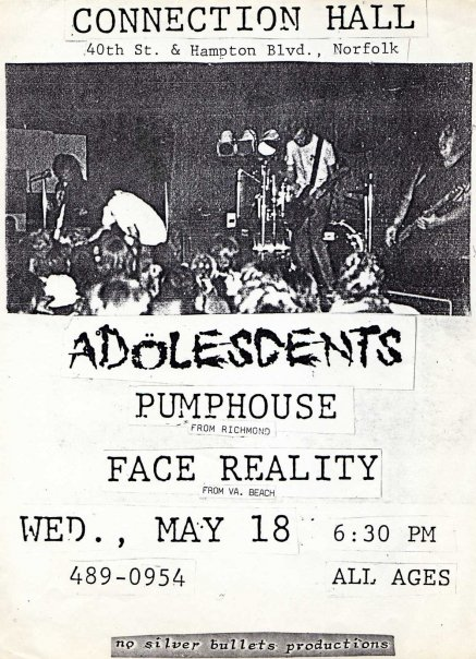 Adolescents-Pumphouse-Face Reality @ Connection Hall Norfolk VA 5-18-88