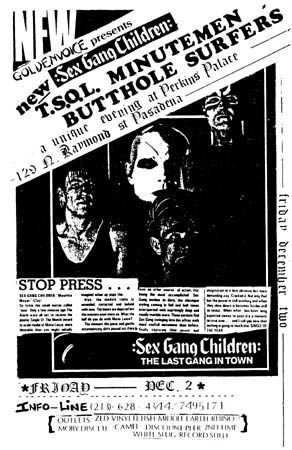 Sex Gang Children-TSOL-Minutemen-Butthole Surfers @ Perkins Palace Pasadena CA 12-2-83