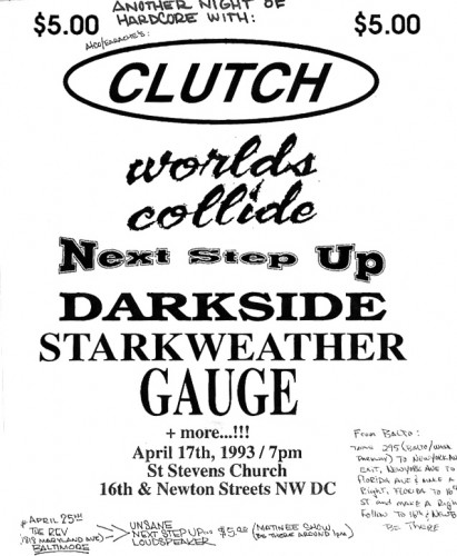 Clutch-Worlds Collide-Next Step Up-Darkside NYC-Starkweather-Gauge @ St. Stephens Church Washington DC 4-17-93