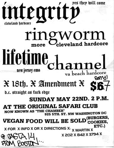 Integrity-Ringworm-Lifetime-Channel-18th Amendment @ Safari Club Washington DC 5-22-94