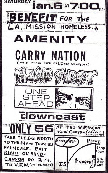 Amenity-Carry Nation-Headfirst-One Step Ahead-Downcast @ VFW Sand Canyon CA 1-6-90