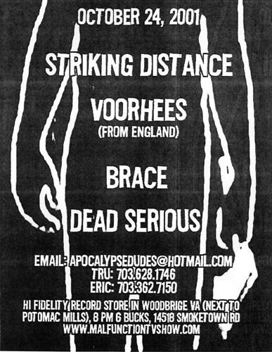 Striking Distance-Voorhees-Brace-Dead Serious @ Hi Fidelity Records Woodbridge VA 10-24-01