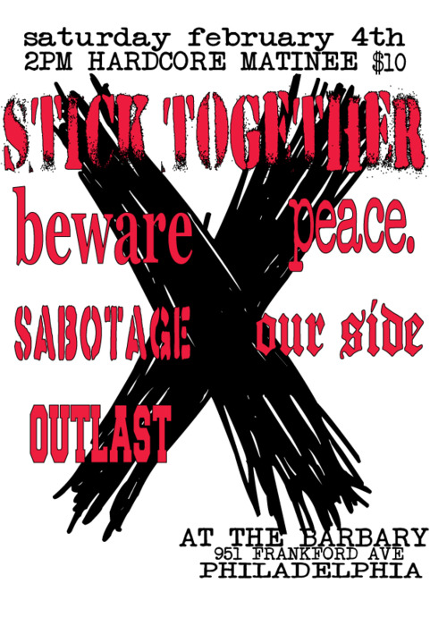 Stick Together-Beware-Peace-Sabotage-Our Side-Outlast @ The Barbary Philadelphia PA 2-4-12