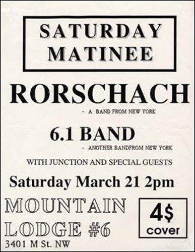 Rorschach-1.6 Band-Junction @ Mountain Lodge #6 Washington DC 3-21-92